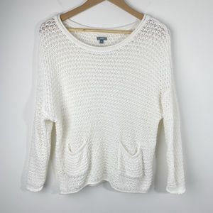 Aerie Soft Knit Long Sleeve Sweater In Ivory M